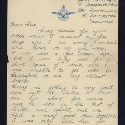 Letter from Sergeant W L Powell